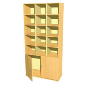 15 Pigeon Hole Storage Unit With Double Cupboard
