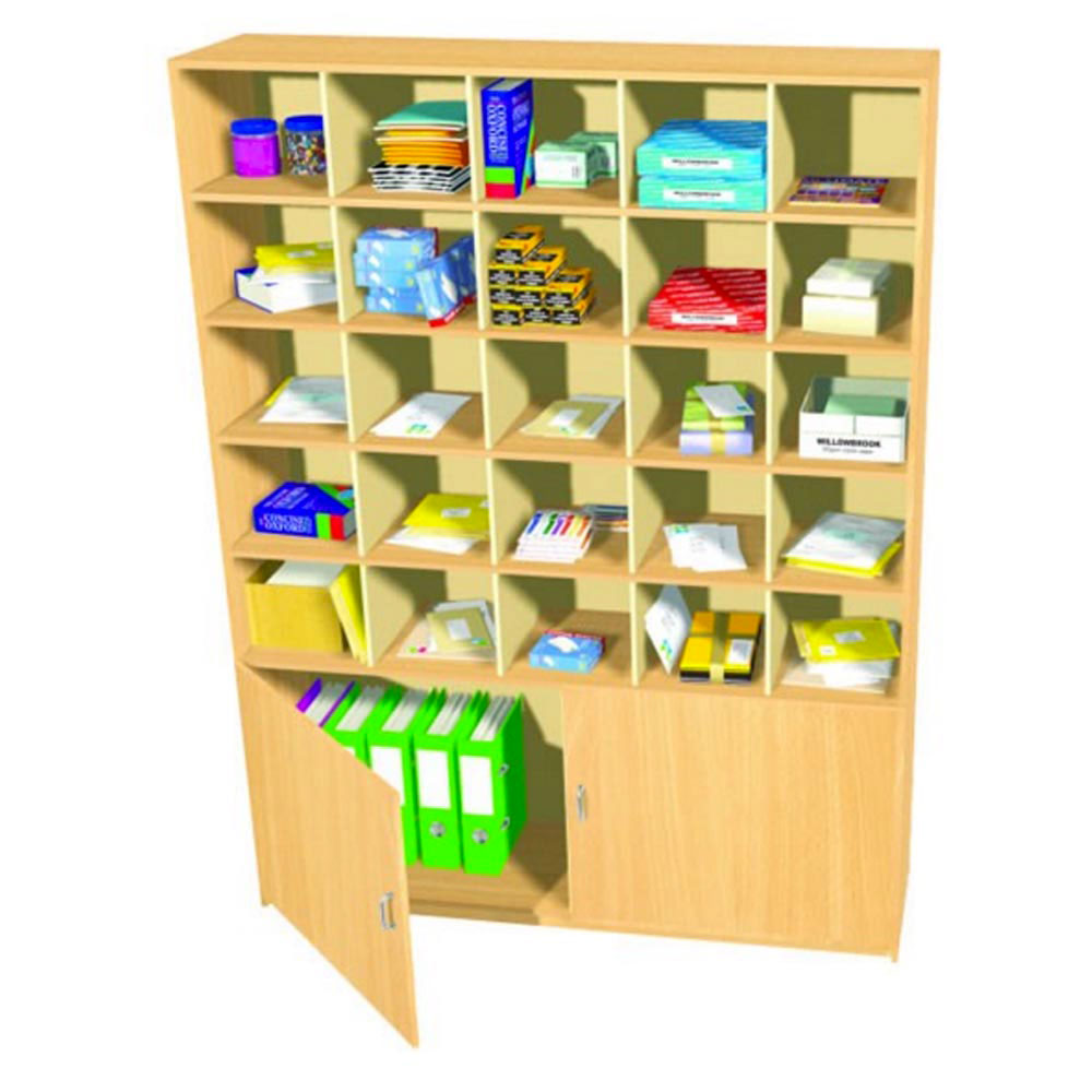 25 Pigeon Hole Storage Unit With Double Cupboard