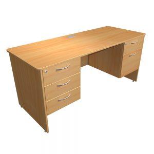 Double Pedestal Teacher Desk Panel End