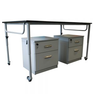 Home Economics Height Adjustable Bench show with mobile pedestal