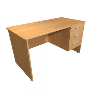 Single Pedestal Teacher Desk Panel End