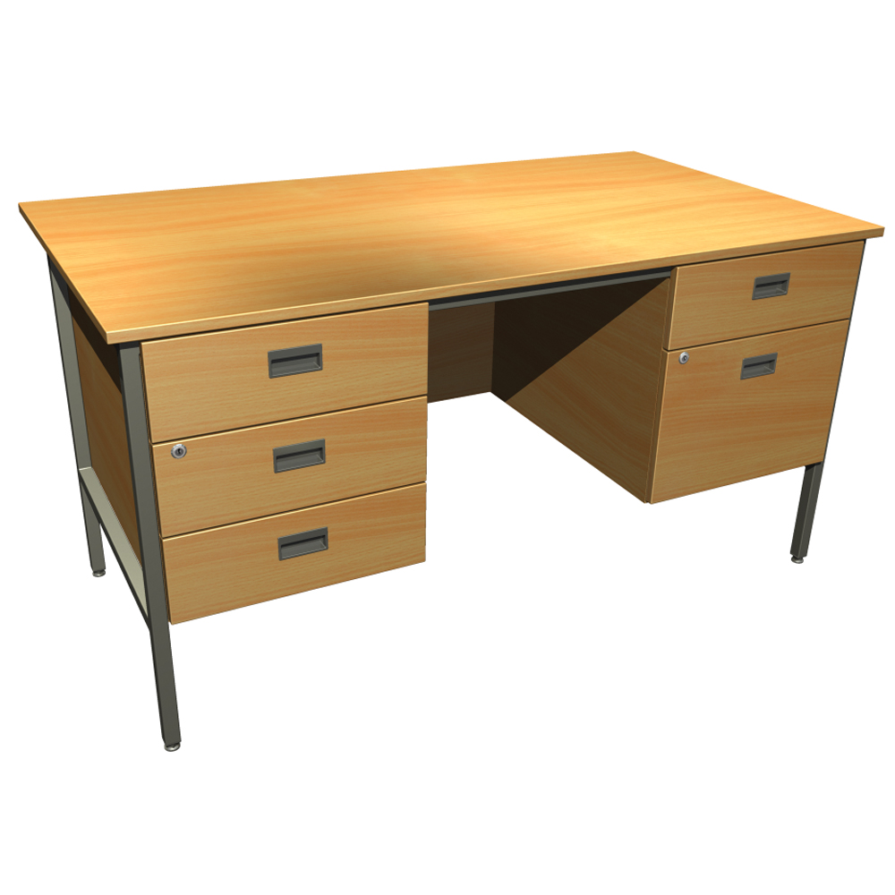 Focus Double Pedestal Steel Underframe Desk Education